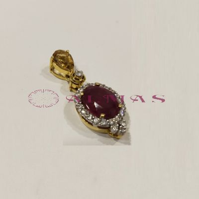 Diamond Pendant with Ruby and Topaz